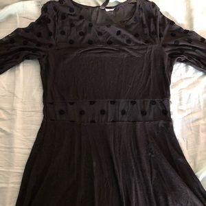 Black H&M Long Sleeve Polka Dot Dress
